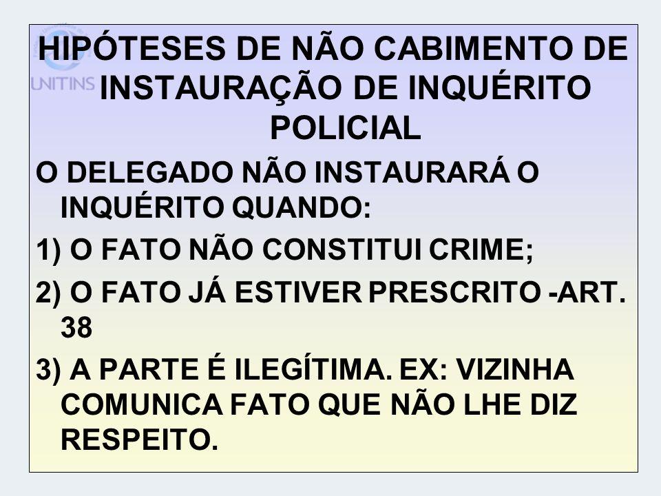 HIPÓTESES DE NÃO CABIMENTO DE INSTAURAÇÃO DE INQUÉRITO POLICIAL O DELEGADO NÃO INSTAURARÁ O INQUÉRITO QUANDO: 1) O FATO NÃO CONSTITUI CRIME; 2) O FATO