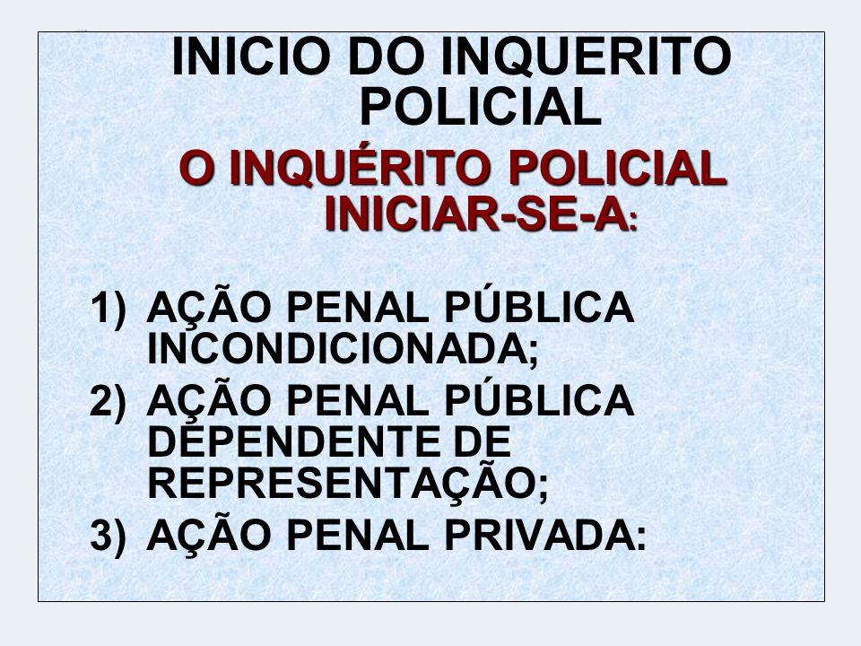 INICIO DO INQUERITO POLICIAL O INQUÉRITO POLICIAL INICIAR-SE-A : 1)AÇÃO PENAL PÚBLICA INCONDICIONADA; 2)AÇÃO PENAL PÚBLICA DEPENDENTE DE REPRESENTAÇÃO