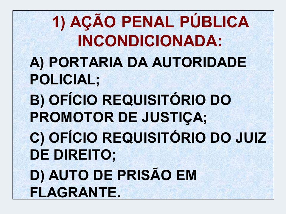 1) AÇÃO PENAL PÚBLICA INCONDICIONADA: A) PORTARIA DA AUTORIDADE POLICIAL; B) OFÍCIO REQUISITÓRIO DO PROMOTOR DE JUSTIÇA; C) OFÍCIO REQUISITÓRIO DO JUI