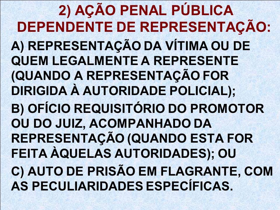 2) AÇÃO PENAL PÚBLICA DEPENDENTE DE REPRESENTAÇÃO: A) REPRESENTAÇÃO DA VÍTIMA OU DE QUEM LEGALMENTE A REPRESENTE (QUANDO A REPRESENTAÇÃO FOR DIRIGIDA