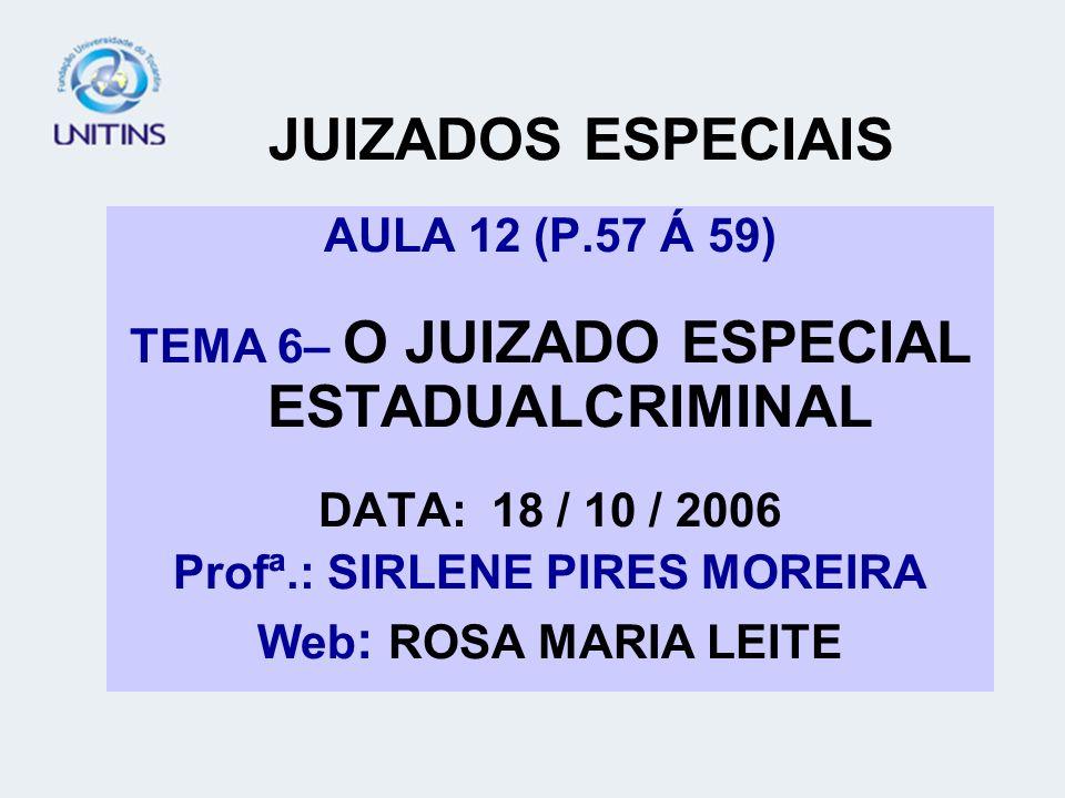 OBJETIVO DA AULA: INTRODUÇÃO AO JUIZADO ESTADUAL ESPECIAL CRIMINAL FORMAÇÃO DESTES JUIZADOS COMPETÊNCIA DOS JEE CRIMINAIS CRIMES PROCESSADOS PRINCÍPIOS DOS JEE CRIMINAIS