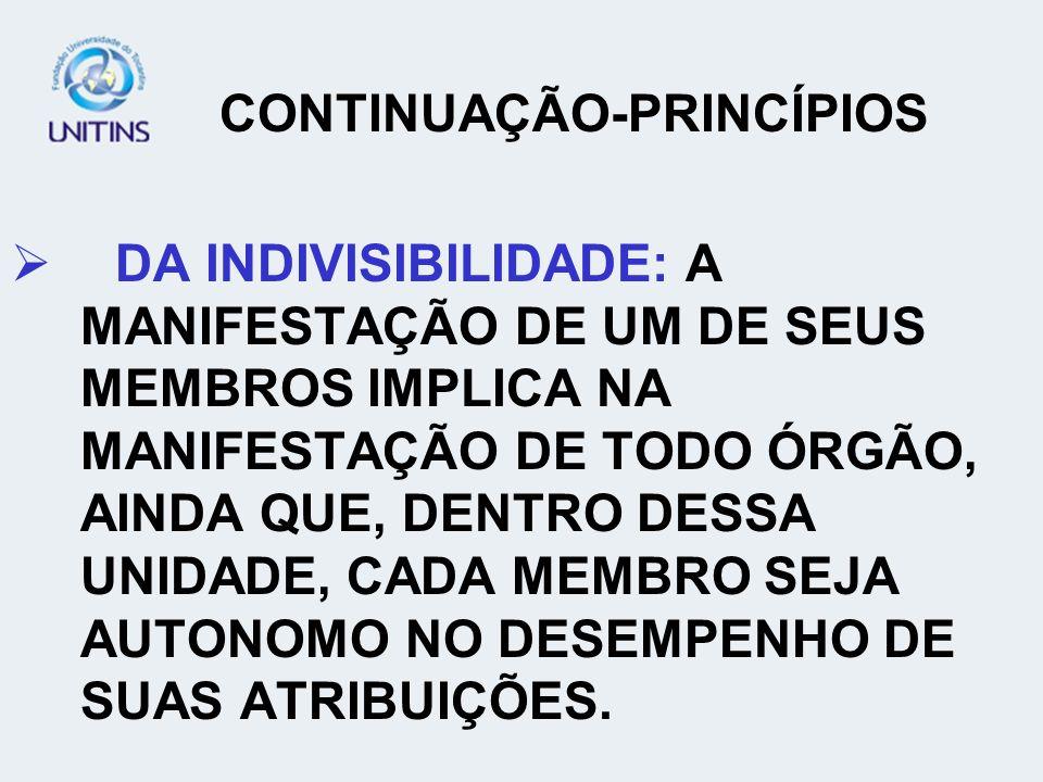 CONTINUAÇÃO-PRINCÍPIOS DA INDIVISIBILIDADE: A MANIFESTAÇÃO DE UM DE SEUS MEMBROS IMPLICA NA MANIFESTAÇÃO DE TODO ÓRGÃO, AINDA QUE, DENTRO DESSA UNIDAD