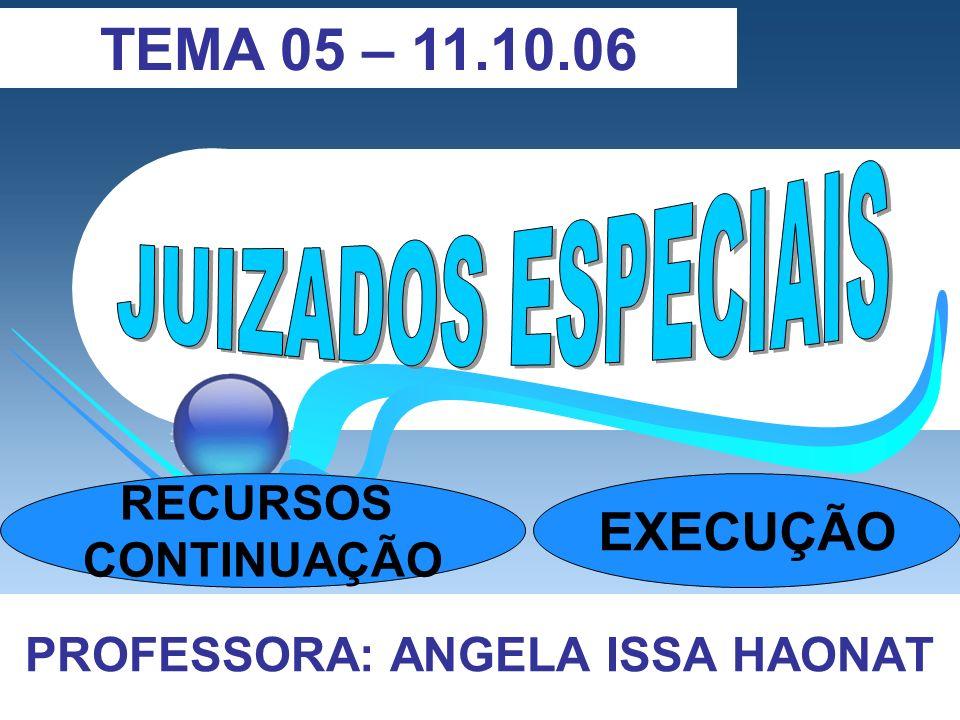 PROFESSORA: ANGELA ISSA HAONAT TEMA 05 – 11.10.06 RECURSOS CONTINUAÇÃO EXECUÇÃO