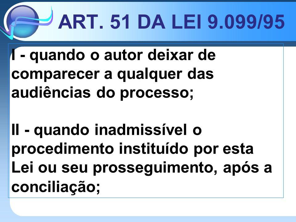 ART. 51 DA LEI 9.099/95 I - quando o autor deixar de comparecer a qualquer das audiências do processo; II - quando inadmissível o procedimento institu