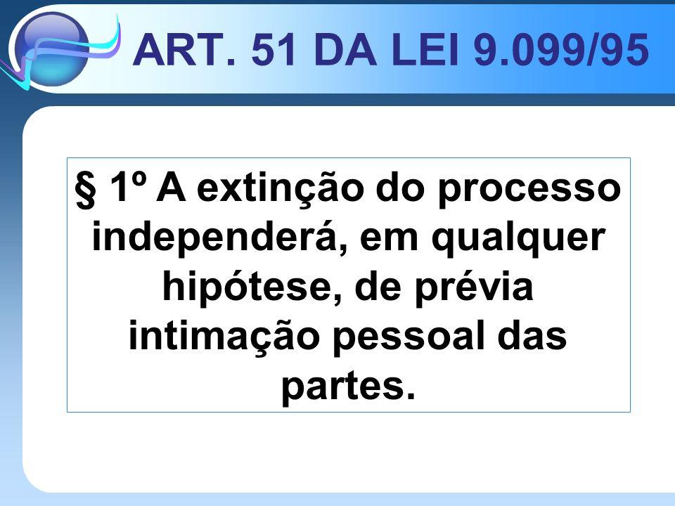 ART. 51 DA LEI 9.099/95 § 1º A extinção do processo independerá, em qualquer hipótese, de prévia intimação pessoal das partes.