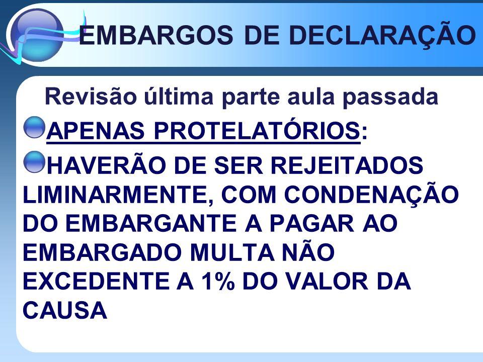 EMBARGOS DE DECLARAÇÃO Revisão última parte aula passada APENAS PROTELATÓRIOS: HAVERÃO DE SER REJEITADOS LIMINARMENTE, COM CONDENAÇÃO DO EMBARGANTE A