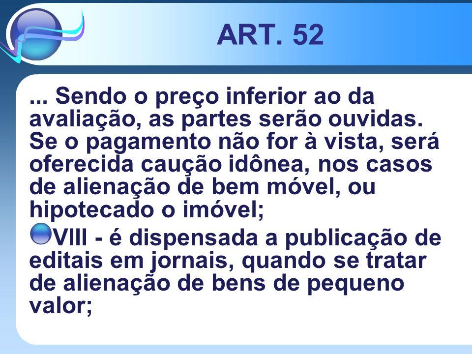 ART. 52... Sendo o preço inferior ao da avaliação, as partes serão ouvidas. Se o pagamento não for à vista, será oferecida caução idônea, nos casos de