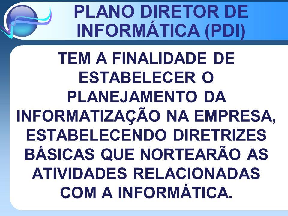 PLANO DIRETOR DE INFORMÁTICA (PDI) TEM A FINALIDADE DE ESTABELECER O PLANEJAMENTO DA INFORMATIZAÇÃO NA EMPRESA, ESTABELECENDO DIRETRIZES BÁSICAS QUE N