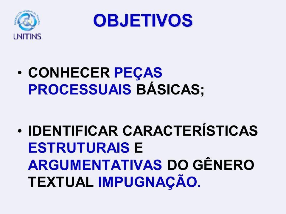 OBJETIVOS CONHECER PEÇAS PROCESSUAIS BÁSICAS; IDENTIFICAR CARACTERÍSTICAS ESTRUTURAIS E ARGUMENTATIVAS DO GÊNERO TEXTUAL IMPUGNAÇÃO.