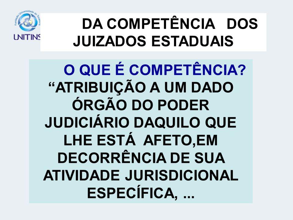 ...FICAM EXCLUÍDAS DA COMPETÊNCIA DOS JUIZADOS ESPECIAIS CÍVEIS AS CAUSAS: A RESÍDUOS AO ESTADO A CAPACIDADE DAS PESSOAS, AINDA QUE DE CUNHO PATRIMONIAL