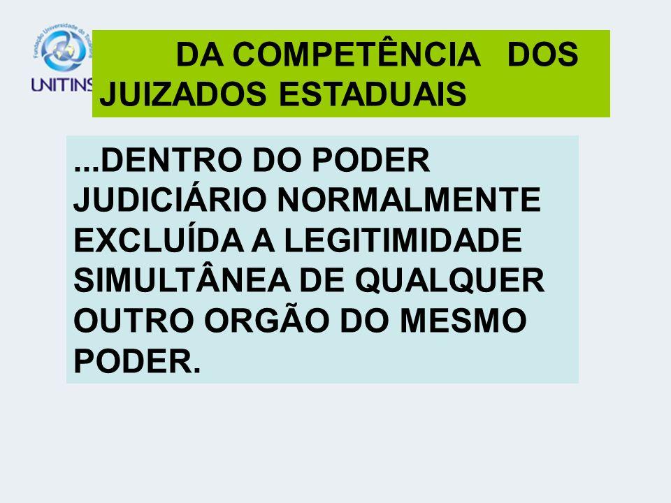 A COMPETÊNCIA OBEDECE QUATRO CRITÉRIOS (ART.