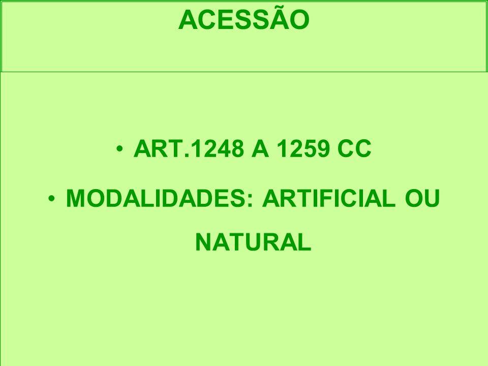 ACESSÃO ART.1248 A 1259 CC MODALIDADES: ARTIFICIAL OU NATURAL