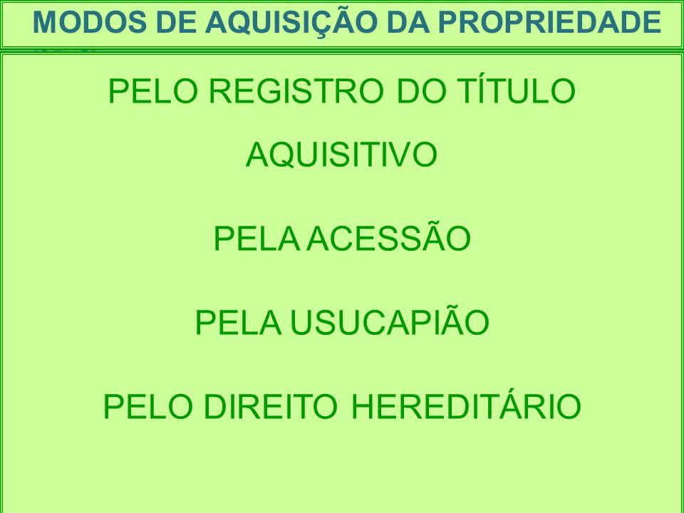 MODOS DE AQUISIÇÃO DA PROPRIEDADE PELO REGISTRO DO TÍTULO AQUISITIVO PELA ACESSÃO PELA USUCAPIÃO PELO DIREITO HEREDITÁRIO