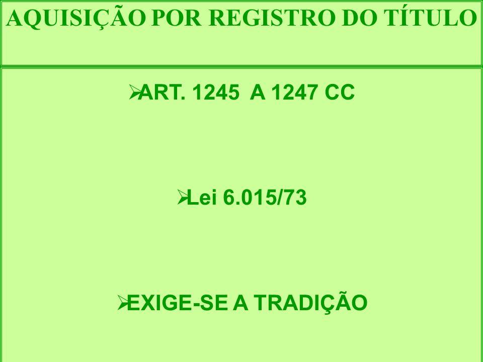 AQUISIÇÃO POR REGISTRO DO TÍTULO ART. 1245 A 1247 CC Lei 6.015/73 EXIGE-SE A TRADIÇÃO