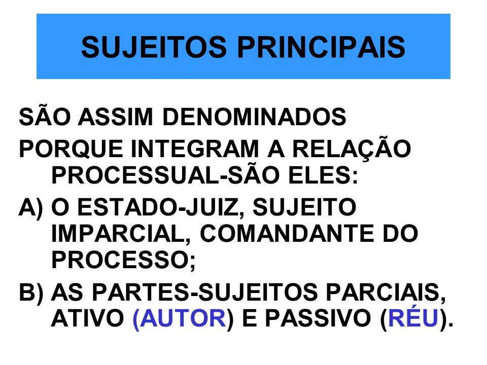 SUJEITOS PRINCIPAIS SÃO ASSIM DENOMINADOS PORQUE INTEGRAM A RELAÇÃO PROCESSUAL-SÃO ELES: A)O ESTADO-JUIZ, SUJEITO IMPARCIAL, COMANDANTE DO PROCESSO; B