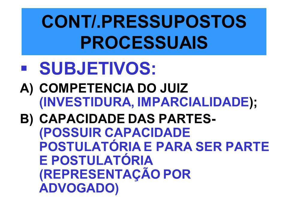 CONT/.PRESSUPOSTOS PROCESSUAIS SUBJETIVOS: A)COMPETENCIA DO JUIZ (INVESTIDURA, IMPARCIALIDADE); B)CAPACIDADE DAS PARTES- (POSSUIR CAPACIDADE POSTULATÓ