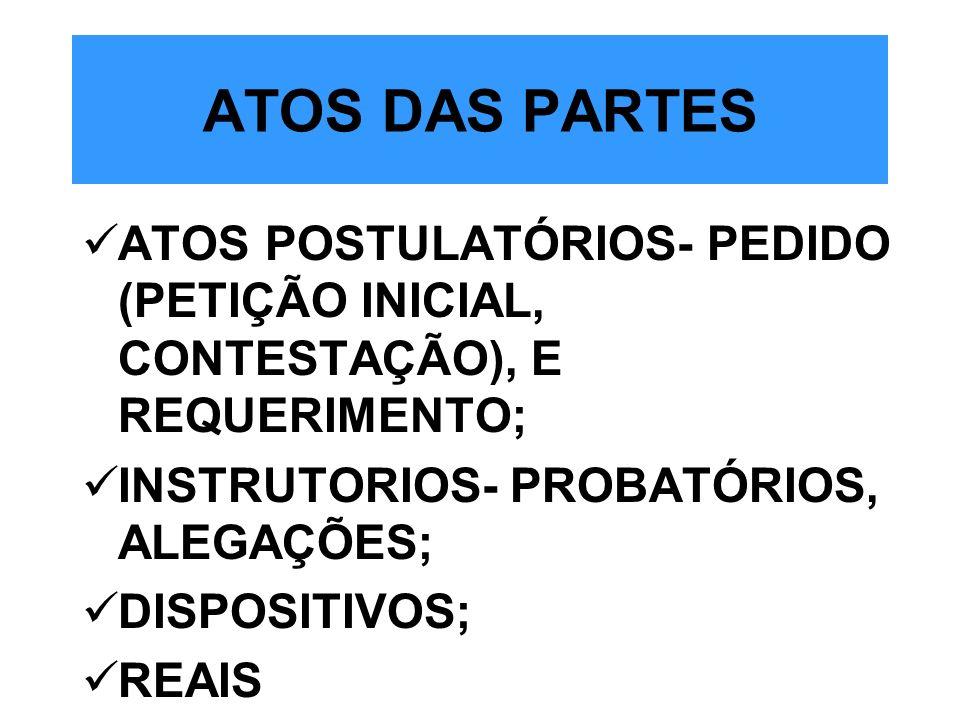 ATOS DAS PARTES ATOS POSTULATÓRIOS- PEDIDO (PETIÇÃO INICIAL, CONTESTAÇÃO), E REQUERIMENTO; INSTRUTORIOS- PROBATÓRIOS, ALEGAÇÕES; DISPOSITIVOS; REAIS