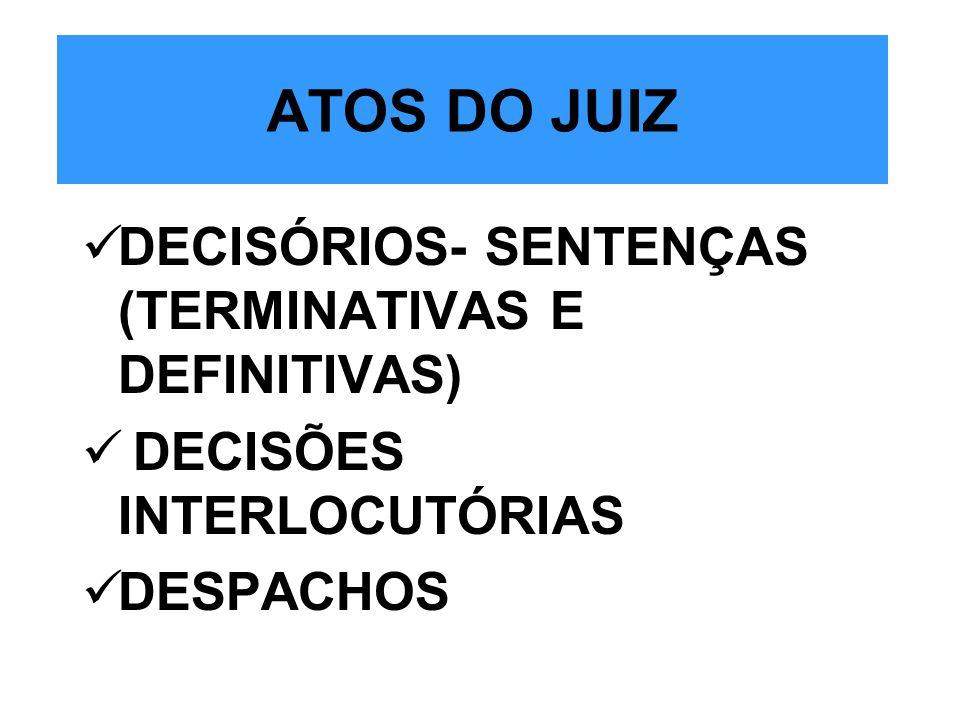 ATOS DO JUIZ DECISÓRIOS- SENTENÇAS (TERMINATIVAS E DEFINITIVAS) DECISÕES INTERLOCUTÓRIAS DESPACHOS