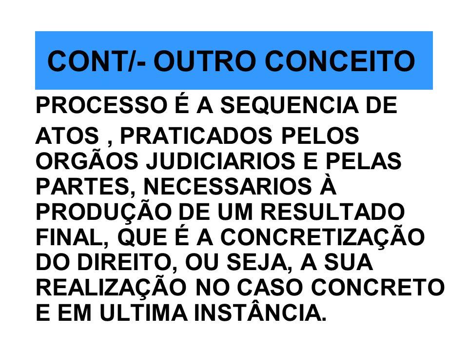 CONT/- OUTRO CONCEITO PROCESSO É A SEQUENCIA DE ATOS, PRATICADOS PELOS ORGÃOS JUDICIARIOS E PELAS PARTES, NECESSARIOS À PRODUÇÃO DE UM RESULTADO FINAL