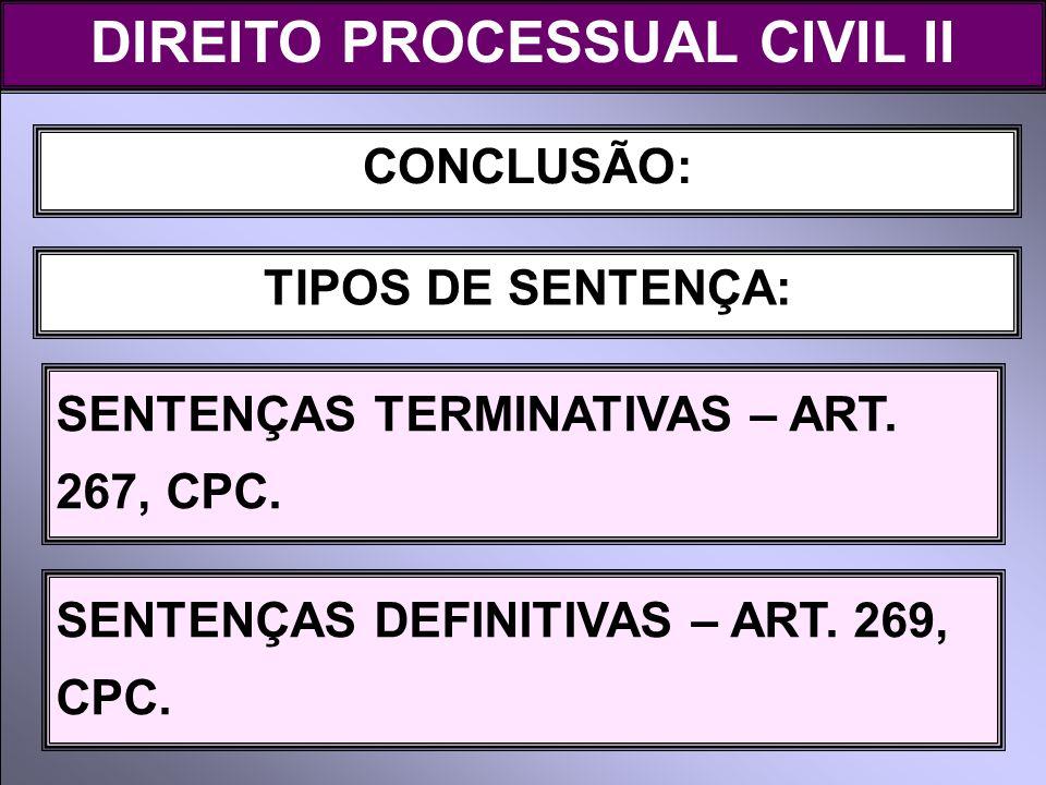 DIREITO PROCESSUAL CIVIL II CONCLUSÃO: TIPOS DE SENTENÇA: SENTENÇAS TERMINATIVAS – ART. 267, CPC. SENTENÇAS DEFINITIVAS – ART. 269, CPC.