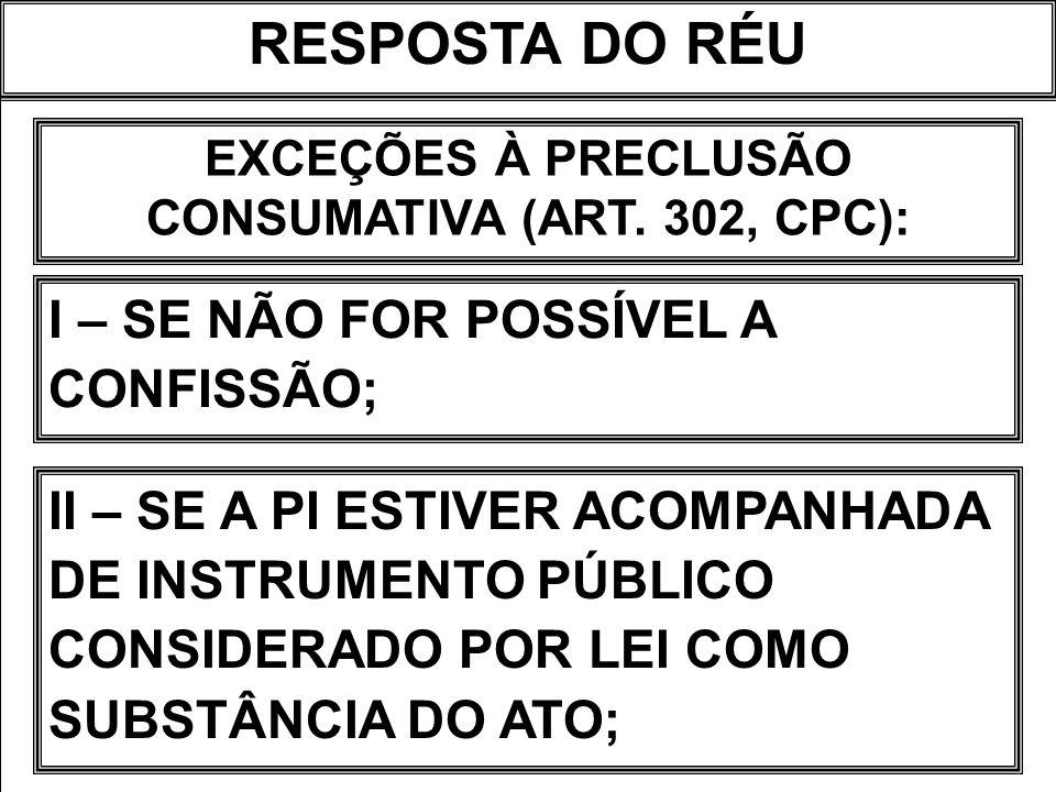 RESPOSTA DO RÉU EXCEÇÕES À PRECLUSÃO CONSUMATIVA (ART. 302, CPC): I – SE NÃO FOR POSSÍVEL A CONFISSÃO; II – SE A PI ESTIVER ACOMPANHADA DE INSTRUMENTO