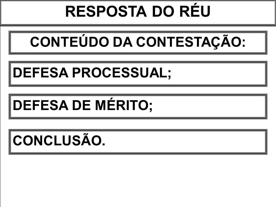 RESPOSTA DO RÉU CONTEÚDO DA CONTESTAÇÃO: DEFESA PROCESSUAL; DEFESA DE MÉRITO; CONCLUSÃO.