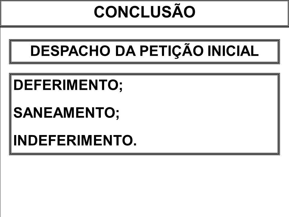CONCLUSÃO DESPACHO DA PETIÇÃO INICIAL DEFERIMENTO; SANEAMENTO; INDEFERIMENTO.