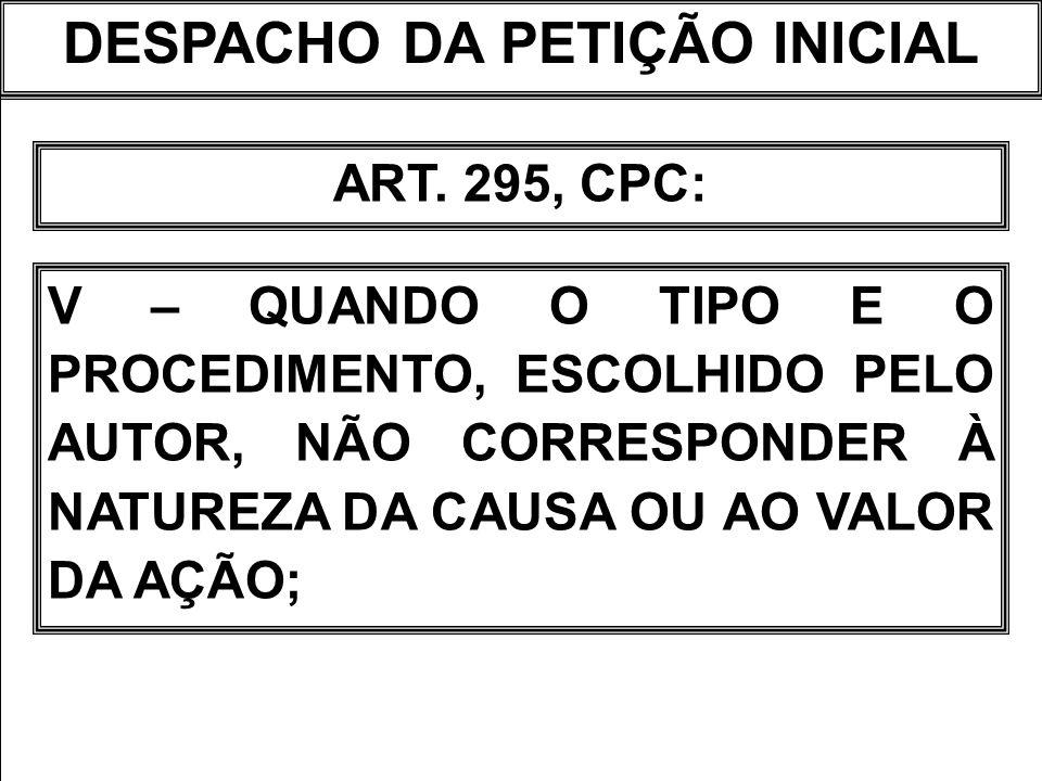 DESPACHO DA PETIÇÃO INICIAL ART.295, CPC: VI – QUANDO NÃO ATENDIDAS AS PRESCRIÇÕES DOS ART.