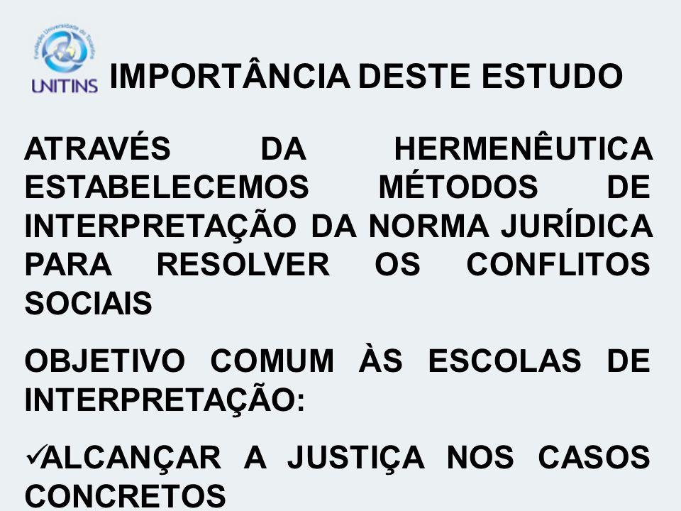 IMPORTÂNCIA DESTE ESTUDO ATRAVÉS DA HERMENÊUTICA ESTABELECEMOS MÉTODOS DE INTERPRETAÇÃO DA NORMA JURÍDICA PARA RESOLVER OS CONFLITOS SOCIAIS OBJETIVO COMUM ÀS ESCOLAS DE INTERPRETAÇÃO: ALCANÇAR A JUSTIÇA NOS CASOS CONCRETOS