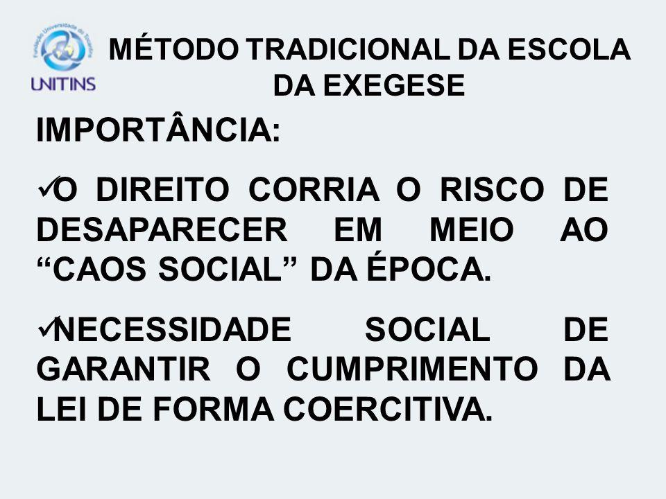 IMPORTÂNCIA: O DIREITO CORRIA O RISCO DE DESAPARECER EM MEIO AO CAOS SOCIAL DA ÉPOCA.