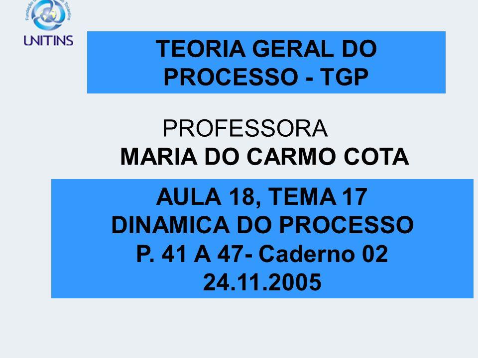 TEORIA GERAL DO PROCESSO - TGP PROFESSORA MARIA DO CARMO COTA AULA 04, P. 25 A 31 01.09.2005 8. P. DA IGUALDADE. DERIVADO DO PRINC Í PIO DO DEVIDO PRO