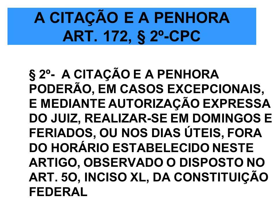 A CITAÇÃO E A PENHORA ART. 172, § 2º-CPC § 2º- A CITAÇÃO E A PENHORA PODERÃO, EM CASOS EXCEPCIONAIS, E MEDIANTE AUTORIZAÇÃO EXPRESSA DO JUIZ, REALIZAR