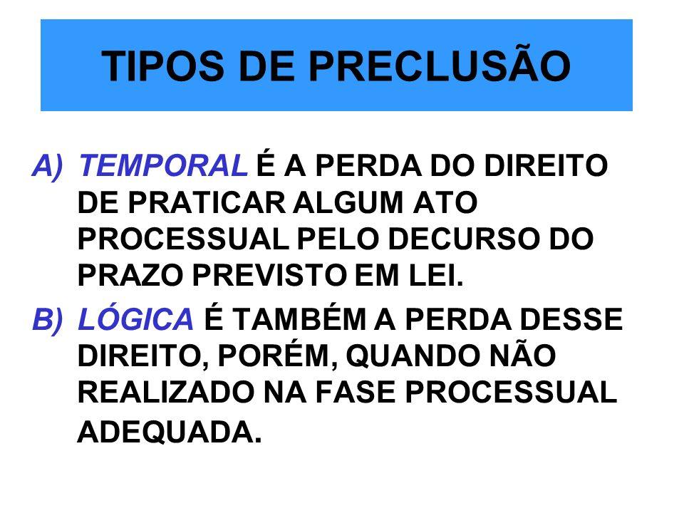 TIPOS DE PRECLUSÃO A)TEMPORAL É A PERDA DO DIREITO DE PRATICAR ALGUM ATO PROCESSUAL PELO DECURSO DO PRAZO PREVISTO EM LEI. B)LÓGICA É TAMBÉM A PERDA D