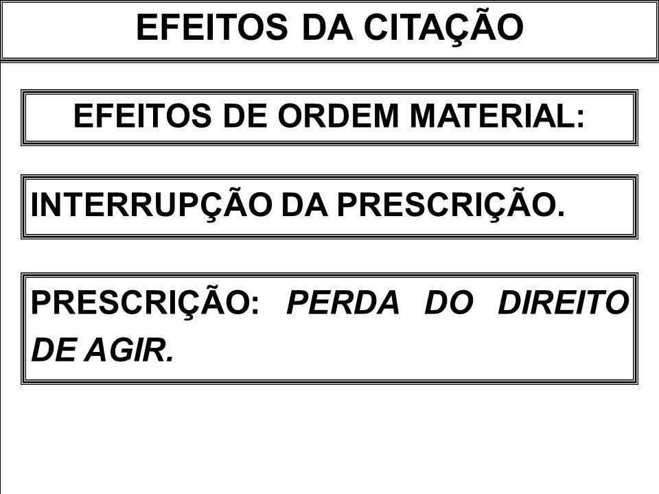 EFEITOS DA CITAÇÃO EFEITOS DE ORDEM MATERIAL: INTERRUPÇÃO DA PRESCRIÇÃO. PRESCRIÇÃO: PERDA DO DIREITO DE AGIR.