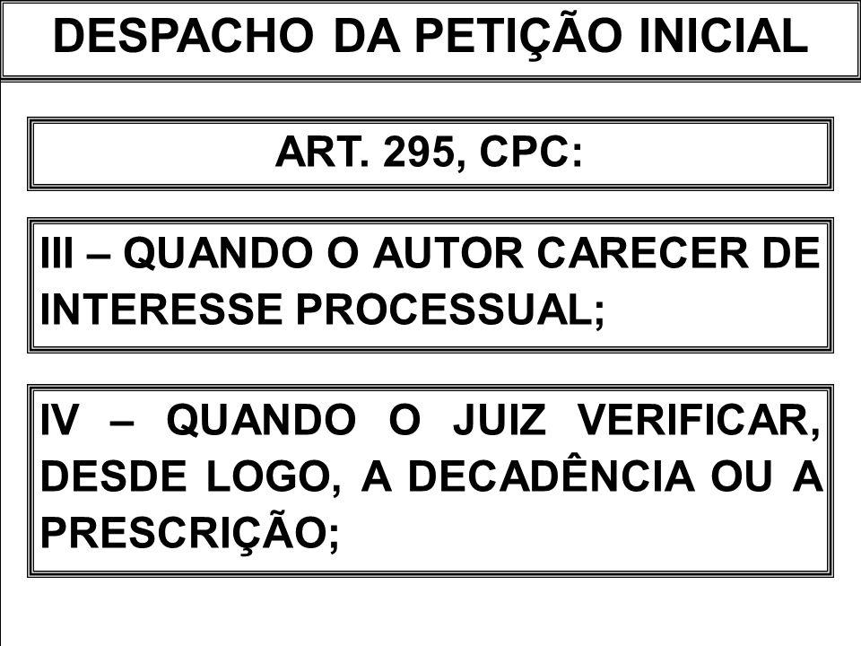 DESPACHO DA PETIÇÃO INICIAL ART. 295, CPC: III – QUANDO O AUTOR CARECER DE INTERESSE PROCESSUAL; IV – QUANDO O JUIZ VERIFICAR, DESDE LOGO, A DECADÊNCI