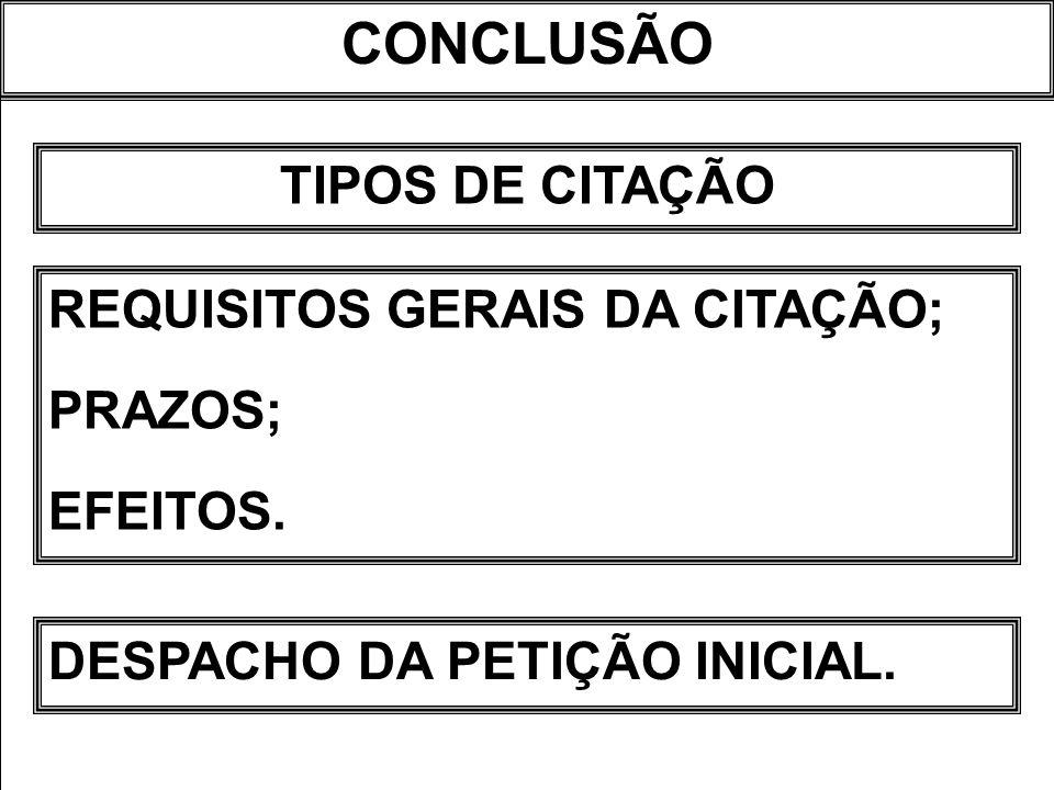 CONCLUSÃO TIPOS DE CITAÇÃO REQUISITOS GERAIS DA CITAÇÃO; PRAZOS; EFEITOS. DESPACHO DA PETIÇÃO INICIAL.