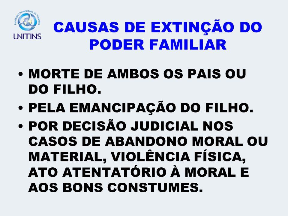 CAUSAS DE EXTINÇÃO DO PODER FAMILIAR MORTE DE AMBOS OS PAIS OU DO FILHO. PELA EMANCIPAÇÃO DO FILHO. POR DECISÃO JUDICIAL NOS CASOS DE ABANDONO MORAL O