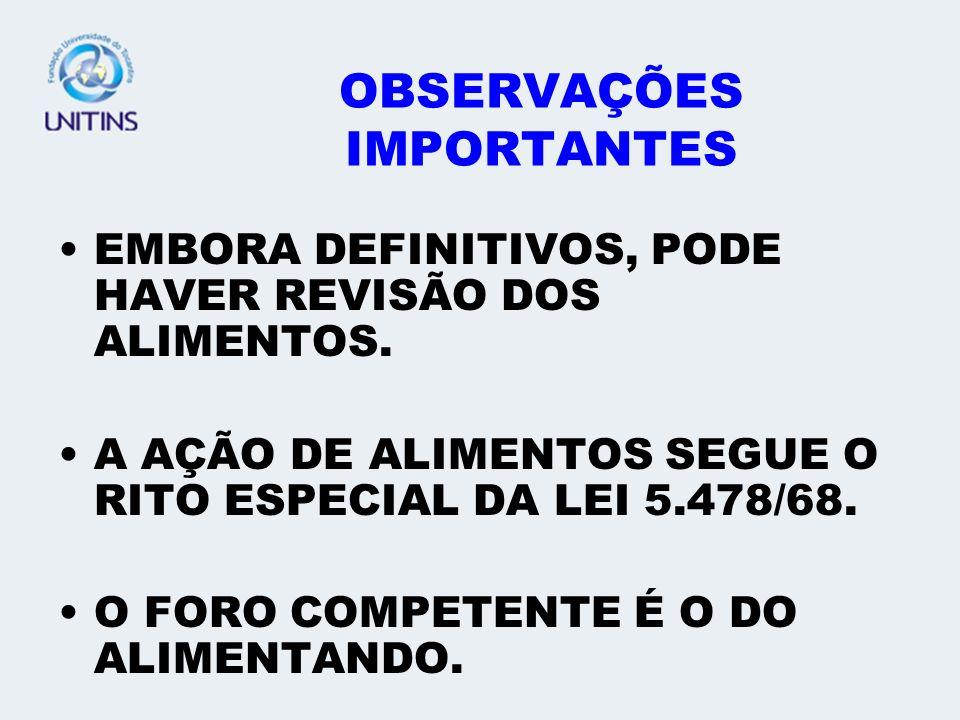 OBSERVAÇÕES IMPORTANTES EMBORA DEFINITIVOS, PODE HAVER REVISÃO DOS ALIMENTOS.