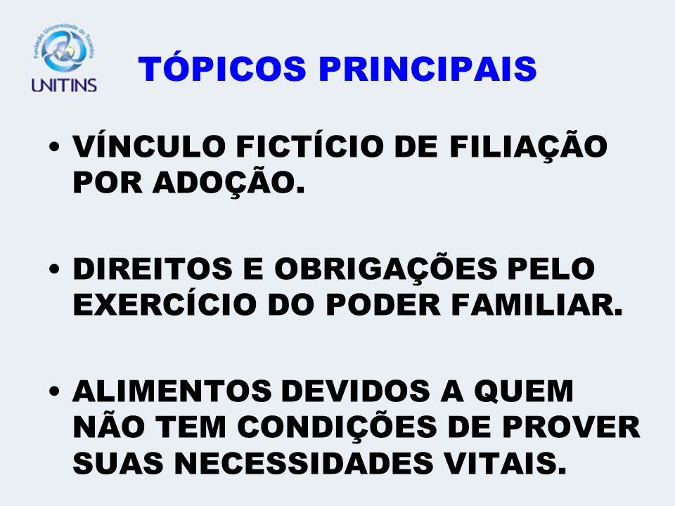 TÓPICOS PRINCIPAIS VÍNCULO FICTÍCIO DE FILIAÇÃO POR ADOÇÃO.