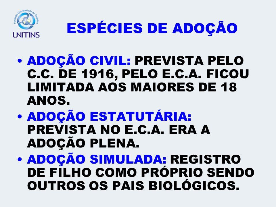 ESPÉCIES DE ADOÇÃO ADOÇÃO CIVIL: PREVISTA PELO C.C.