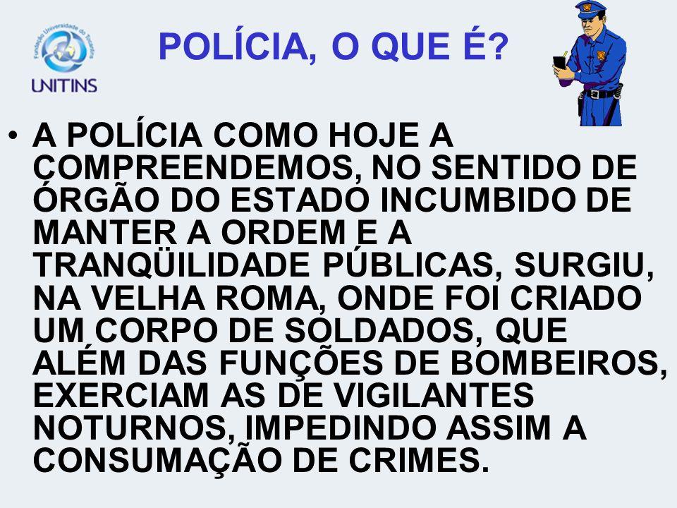 POLÍCIA, O QUE É? A POLÍCIA COMO HOJE A COMPREENDEMOS, NO SENTIDO DE ÓRGÃO DO ESTADO INCUMBIDO DE MANTER A ORDEM E A TRANQÜILIDADE PÚBLICAS, SURGIU, N