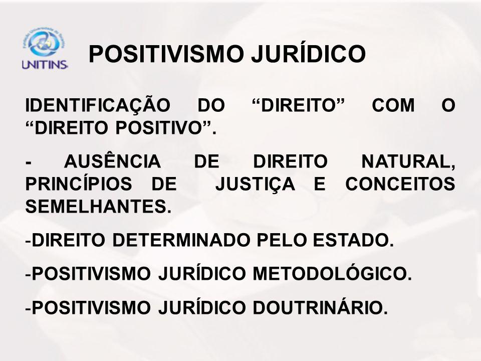 POSITIVISMO JURÍDICO IDENTIFICAÇÃO DO DIREITO COM O DIREITO POSITIVO. - AUSÊNCIA DE DIREITO NATURAL, PRINCÍPIOS DE JUSTIÇA E CONCEITOS SEMELHANTES. -D