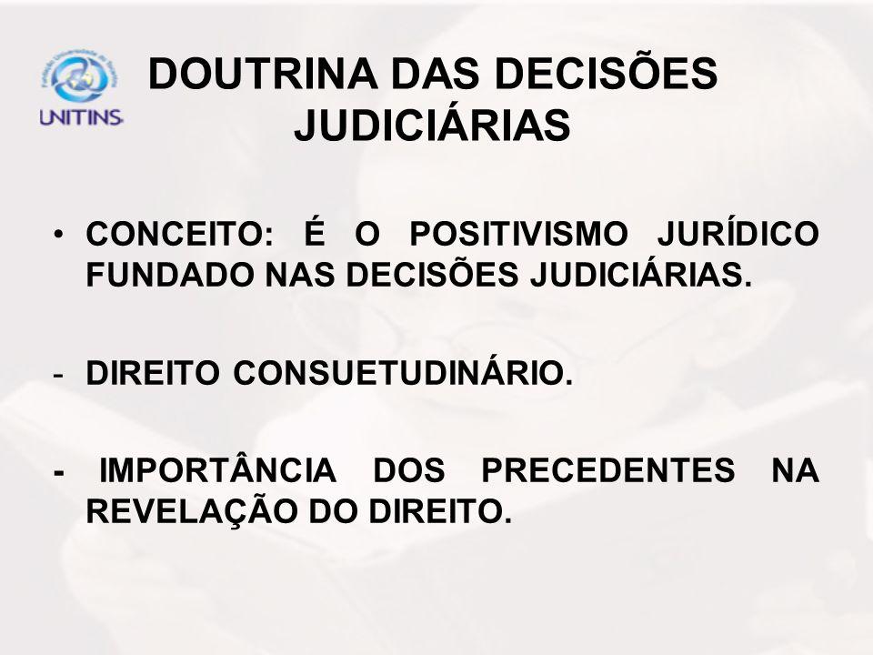 DOUTRINA DAS DECISÕES JUDICIÁRIAS CONCEITO: É O POSITIVISMO JURÍDICO FUNDADO NAS DECISÕES JUDICIÁRIAS. -DIREITO CONSUETUDINÁRIO. - IMPORTÂNCIA DOS PRE