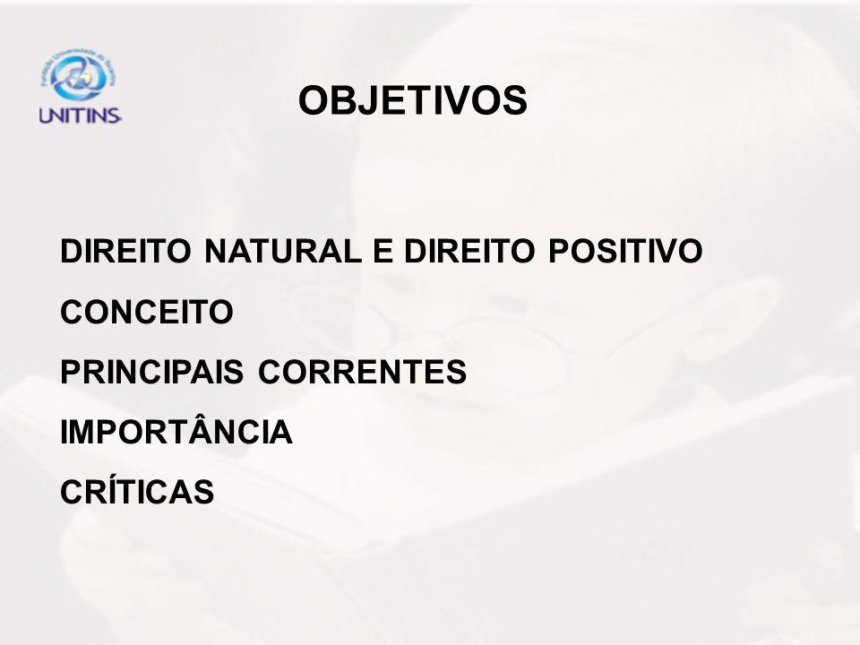 OBJETIVOS DIREITO NATURAL E DIREITO POSITIVO CONCEITO PRINCIPAIS CORRENTES IMPORTÂNCIA CRÍTICAS