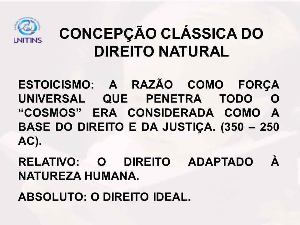 CONCEPÇÃO CLÁSSICA DO DIREITO NATURAL DOUTRINA DE SANTO AGOSTINHO (354-430 D.