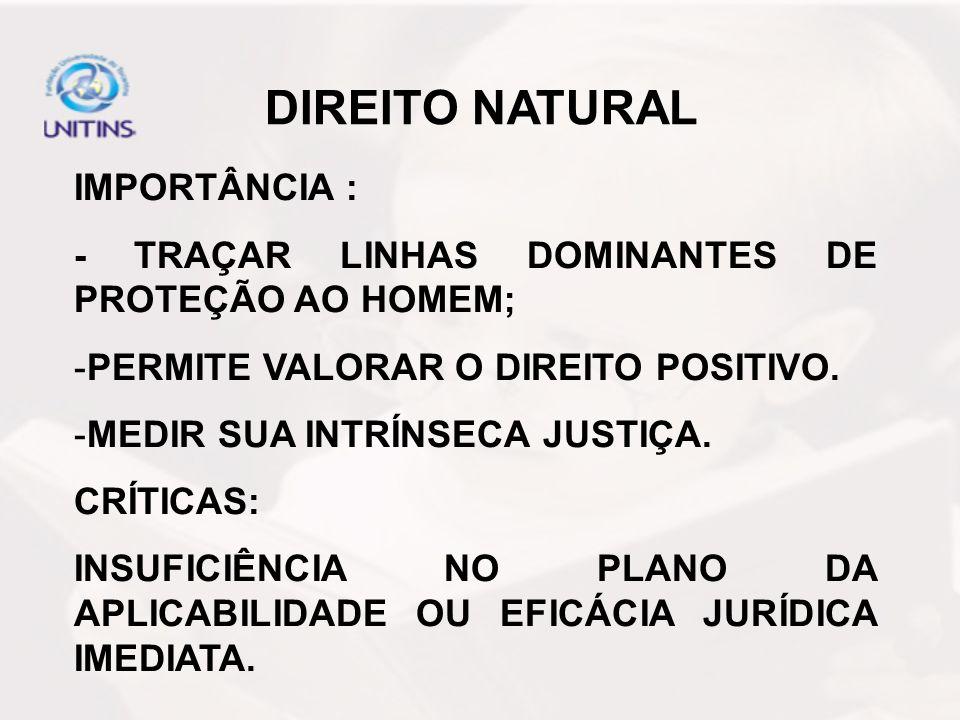 DIREITO NATURAL IMPORTÂNCIA : - TRAÇAR LINHAS DOMINANTES DE PROTEÇÃO AO HOMEM; -PERMITE VALORAR O DIREITO POSITIVO. -MEDIR SUA INTRÍNSECA JUSTIÇA. CRÍ