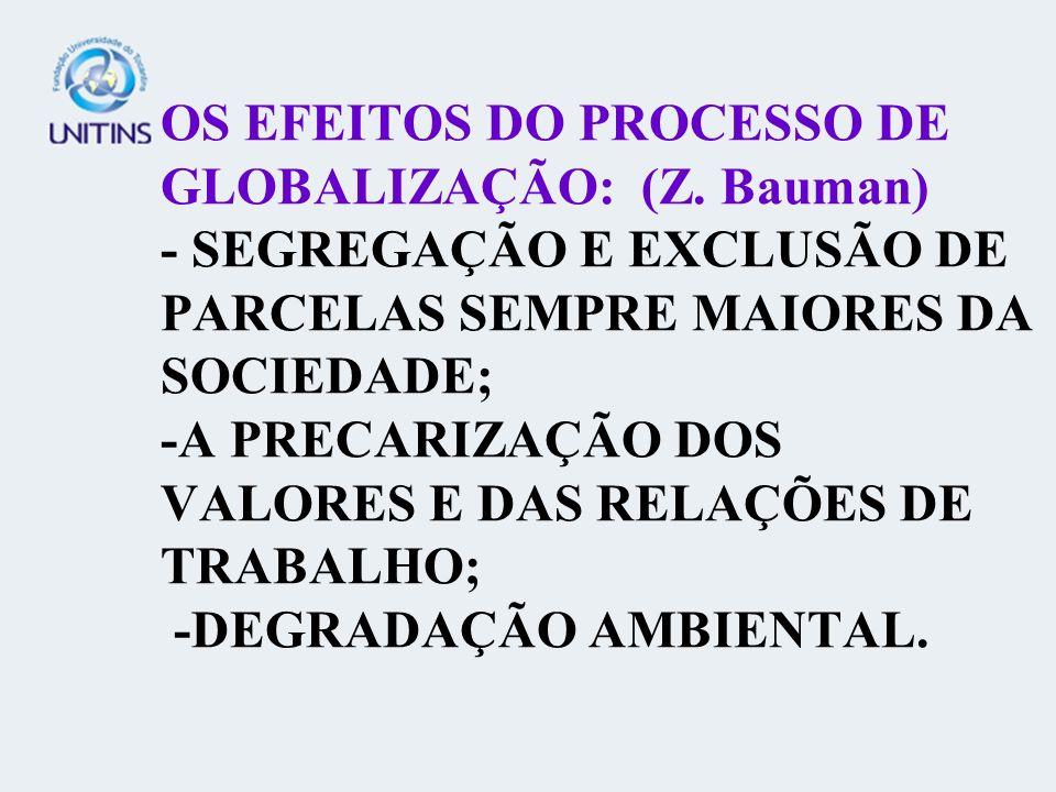 OS EFEITOS DO PROCESSO DE GLOBALIZAÇÃO: (Z. Bauman) - SEGREGAÇÃO E EXCLUSÃO DE PARCELAS SEMPRE MAIORES DA SOCIEDADE; -A PRECARIZAÇÃO DOS VALORES E DAS
