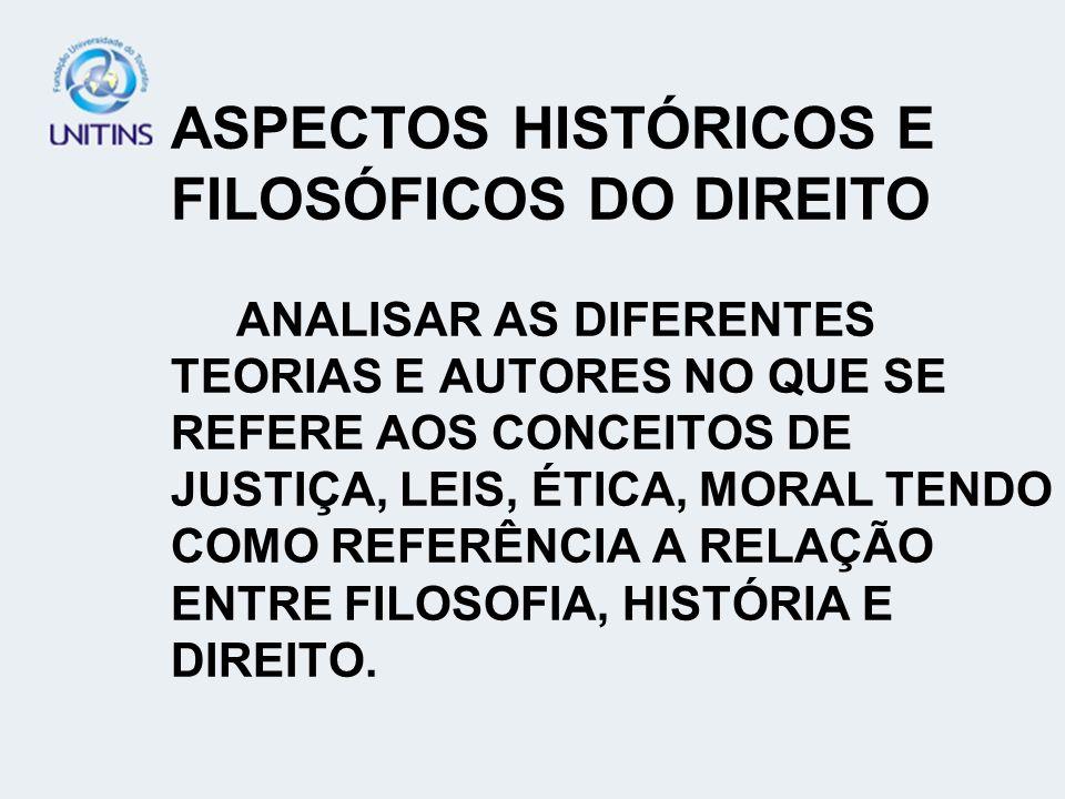 ASPECTOS HISTÓRICOS E FILOSÓFICOS DO DIREITO ANALISAR AS DIFERENTES TEORIAS E AUTORES NO QUE SE REFERE AOS CONCEITOS DE JUSTIÇA, LEIS, ÉTICA, MORAL TE