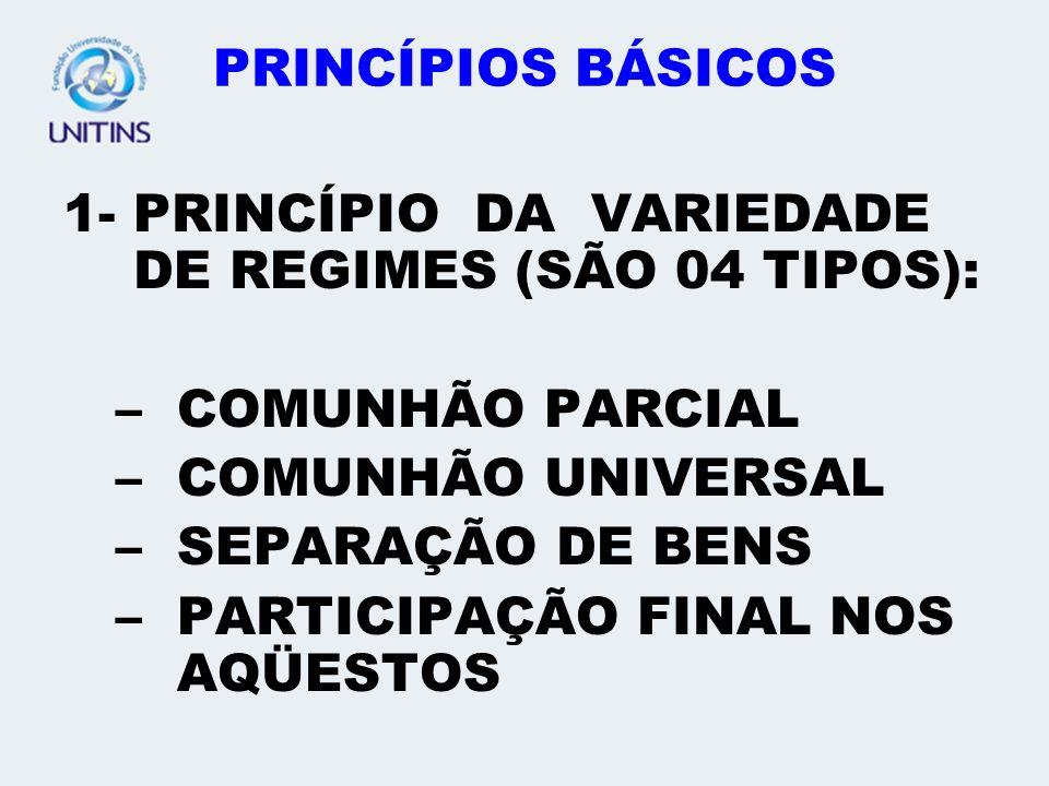 PRINCÍPIOS BÁSICOS 1- PRINCÍPIO DA VARIEDADE DE REGIMES (SÃO 04 TIPOS): –COMUNHÃO PARCIAL –COMUNHÃO UNIVERSAL –SEPARAÇÃO DE BENS –PARTICIPAÇÃO FINAL N