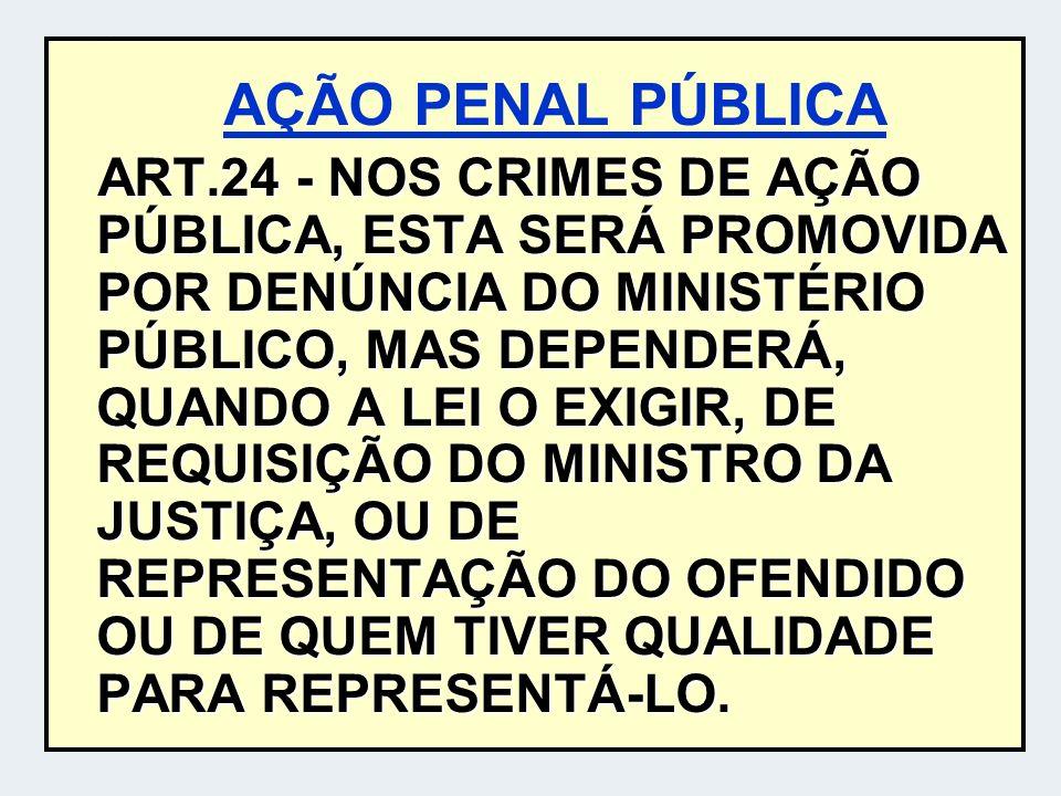 AÇÃO PENAL PÚBLICA ART.24 - NOS CRIMES DE AÇÃO PÚBLICA, ESTA SERÁ PROMOVIDA POR DENÚNCIA DO MINISTÉRIO PÚBLICO, MAS DEPENDERÁ, QUANDO A LEI O EXIGIR,